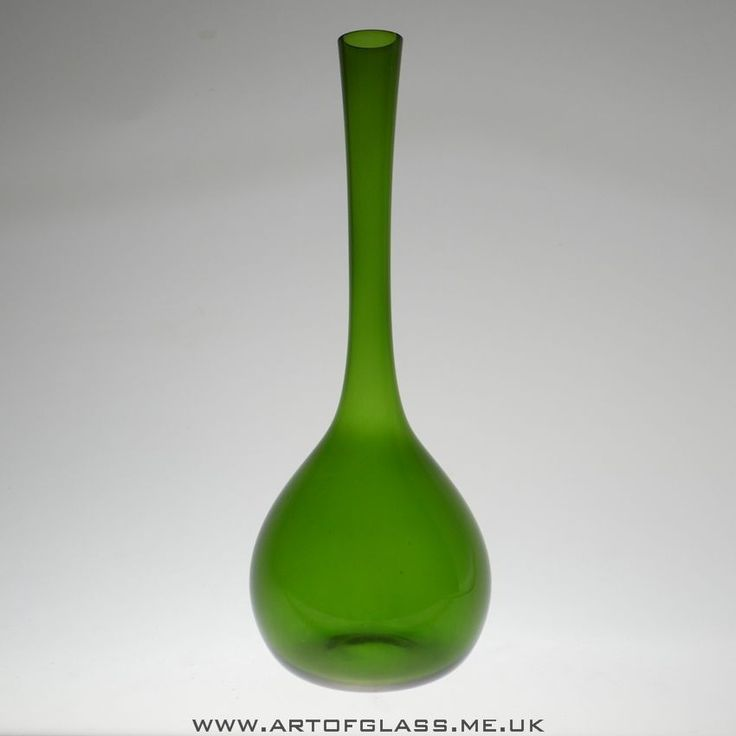 "Swedish 13"" tall green glass bottle vase"