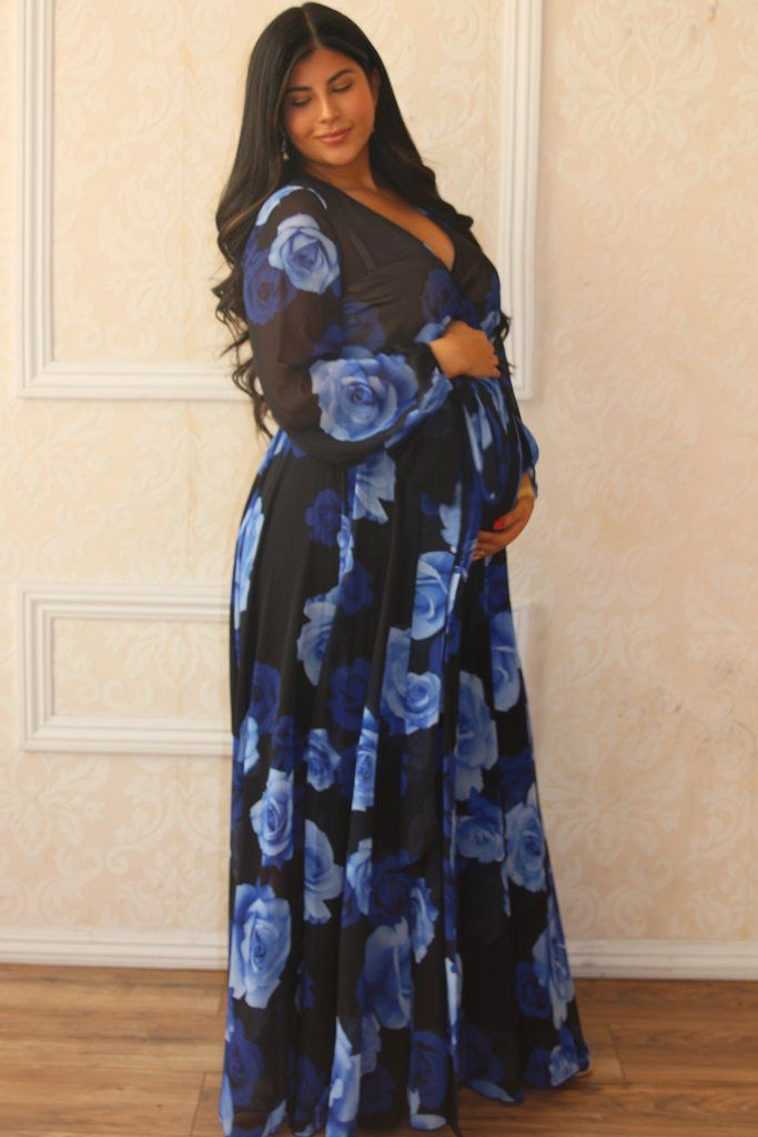 58a0539c917  124 Gorgeous Floral Wrap Maternity Gown