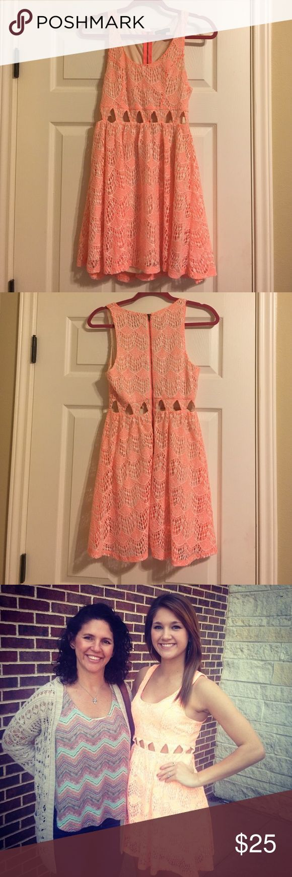 Bright orange dress Worn once! Adorable bright orange lace dress with cut out detailing. Material Girl Dresses Midi