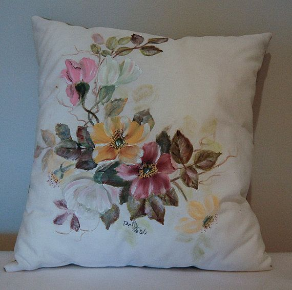 Hand Painted Pillow by Dolly by GrinningLikeAnIdiot on Etsy, $65.00