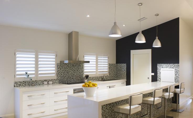 Kitchen splash back with black and white glass mosaic