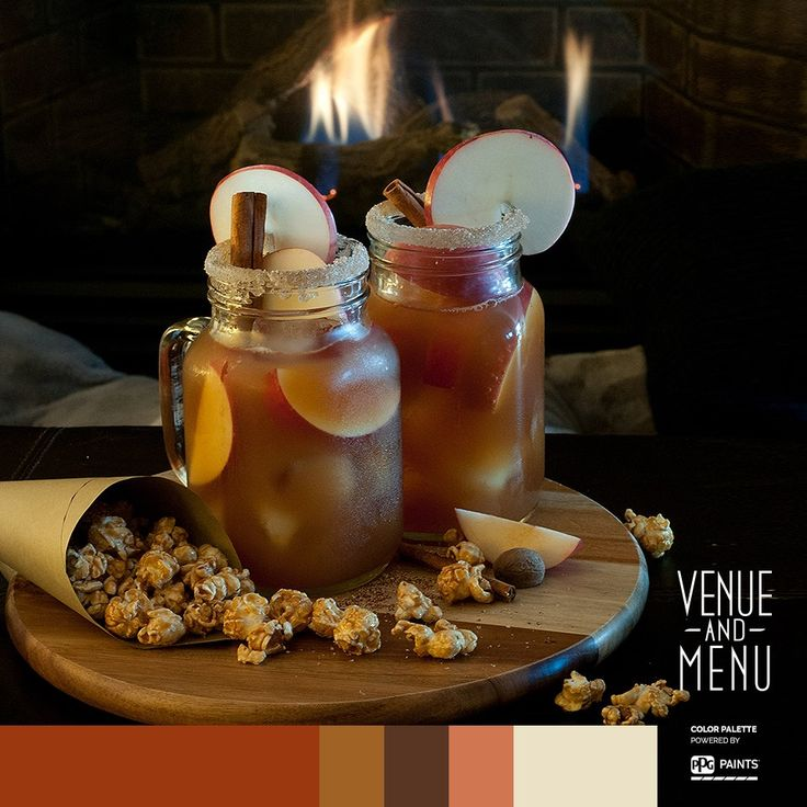 """An Autumn Crush on this harvest moon has """" romantique"""" written all over it. #aFrenchaffair #Quebeccitygetaway #venueandmenu  Autumn Crush 1.5 oz. spiced rum 2 oz. apple cider 2 oz. apple syrup 2 oz. hot chai tea, chilled 1 tsp. maple syrup 1/2 tsp. grated nutmeg 1/2 cinnamon stick 1 clove Add all the ingredients to a cocktail shaker filled with ice. Shake and chill. Strain into an ice-filled glass and garnish with an apple slice and piece of a cinnamon stick."""