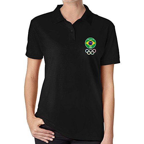 TOP Womens 2016 Brazil Rio Olympics Summer Sports Meeting Polo Shirt Black *** You can find out more details at the link of the image.