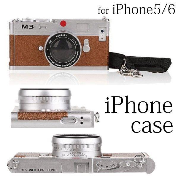 iphone6s/6 アイホンse 5s/5 iphone6splus 6plus ケース カバー カメラ 型 ケース 耐衝撃 立体 ネックストラップ付 クラシックカメラ風 ライカ風 おもしろ
