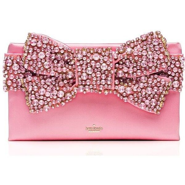 Kate Spade Evening Belles Lucinda ($598) ❤ liked on Polyvore featuring bags, handbags, clutches, special occasion handbags, pink handbags, holiday handbags, kate spade handbag and special occasion purses