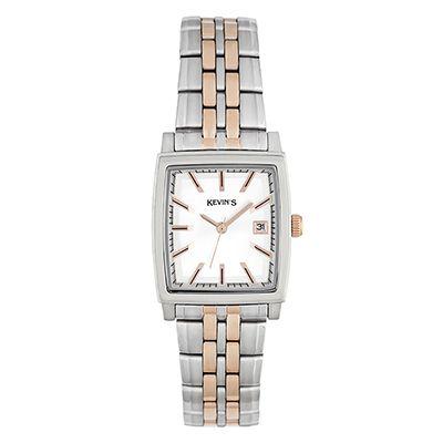 Reloj para Dama, tablero rectangular, silver, index, analogo, pulso metalico metalico, calendario