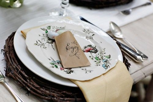 Nest. Great place setting for garden bridal shower