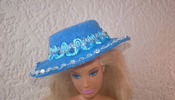 Blue Barbie hat with lots of bling. OOAK hand made felt hat
