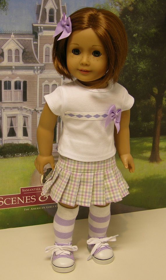 Easter Plaid skirt set for American Girl doll by cupcakecutiepie  How adorable is this? (LJ pleated skirt pattern, looks like the Bunny Bear tee from Spring Fling)