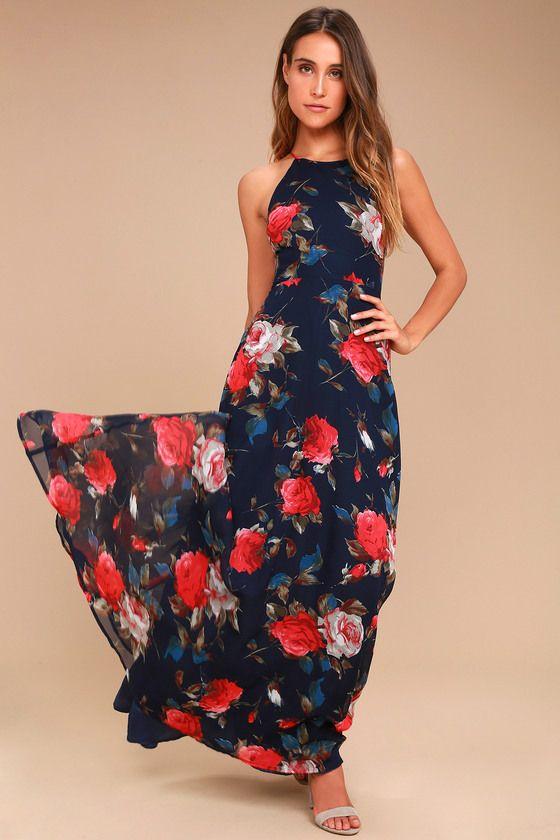 Lovely Navy Blue Dress - Floral Print Dress - Maxi Dress
