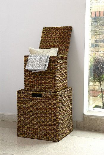 Wicker Basket Storage Cube : Waterhyacinth cube baskets laundry bin