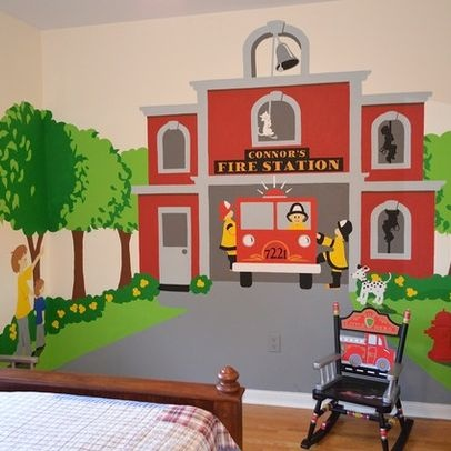 Fire Station Themed Room Fire Engine Kids Wall Murals Fireman