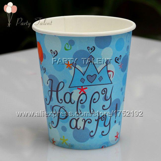 Ну вечеринку поставляет 20 шт. принц тема день рождения ну вечеринку украшения одноразовая посуда бумаги разовые чашки синий корона мультфильм шаблон