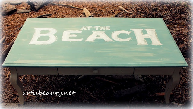 """#artisbeauty my """"at the beach"""" shabby chic home made chalk paint coffee table"""