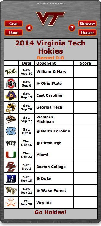 BACK OF WIDGET - Free 2014 Virginia Tech Hokies Football Schedule Widget - Go Hokies! http://riowww.com/teamPages/Virginia_Tech_Hokies.htm