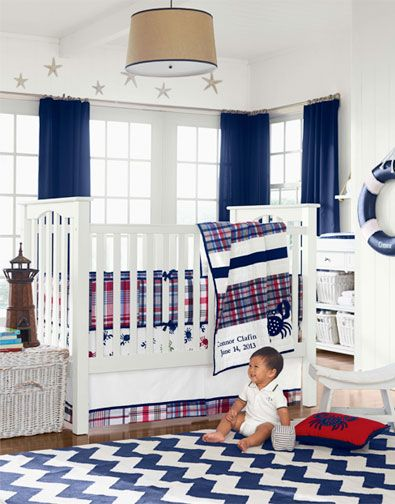 Love The Clic Colors In This Nursery Great Navy And White Chevron Rug Boys