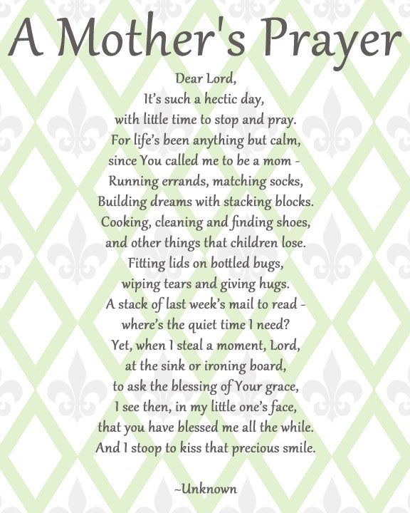 Short Mothers Day Poem: Prayer For Mothers, Inspirational
