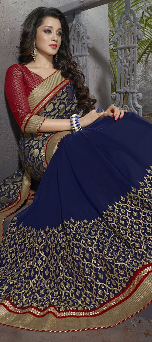 169086: Blue color family Embroidered Sarees, Party Wear Sarees with matching unstitched blouse.