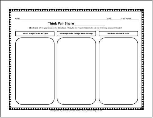 Worksheets Think Pair Share Worksheet 1000 ideas about think pair share on pinterest visible thinking graphic organizer these charts would be appropriate for anything that needs to