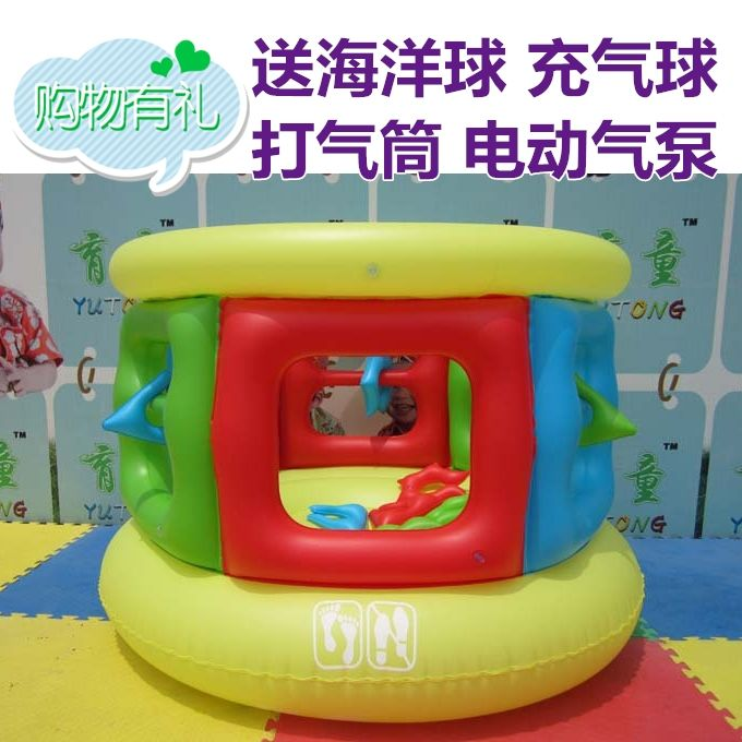 203.80$  Buy here - http://alimb5.worldwells.pw/go.php?t=1805375360 - New arrival child small trampoline inflatable multicolour ocean ball pump 203.80$
