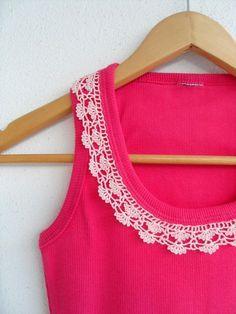 Las mujeres Top, camisa de encaje, camisa de algodón, fucsia y suave polvo Rosa primavera moda de ganchillo