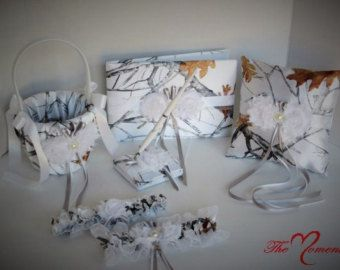 White Camo Wedding Flower Girl Basket Wedding by TheMomentWedding