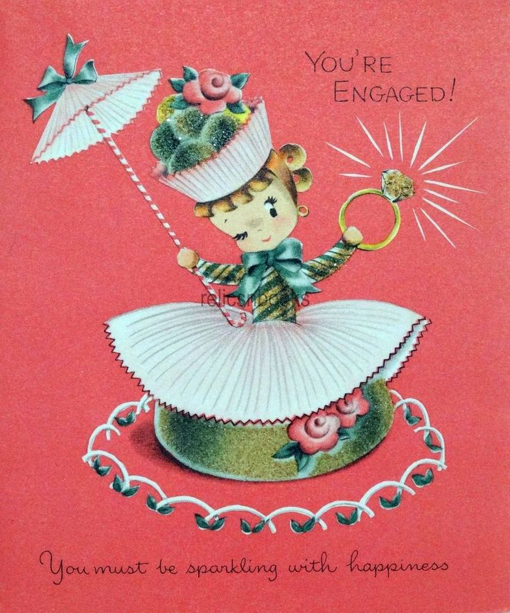#5 50s Unused Norcross Glittered Candy Girl-Vtg Wedding Engagement Greeting Card