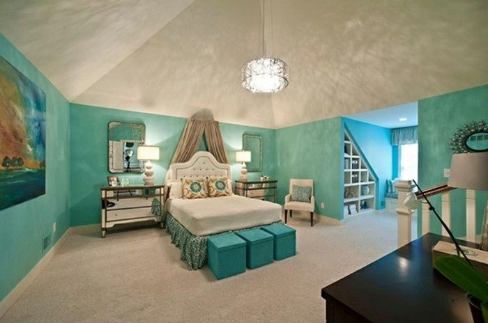 Wandfarbe Türkis Unikales Schlafzimmer Gestalten
