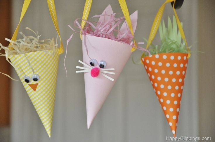 Paper Easter Bunny, Chick, Carrot Cones at HappyClippings.com