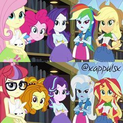 Size: 480x480 | Tagged: adagio dazzle, alternate universe, applejack, clothes swap, edit, equestria girls, fluttershy, moondancer, pinkie pie, rainbow dash, rarity, safe, starlight glimmer, sunset shimmer, trixie