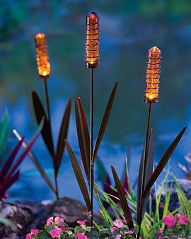 Solar Garden Lights that look like they're the tops of plants. Cool and creative. Would look great going up the front walkway.