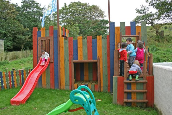 playground castle made from reclaimed timber