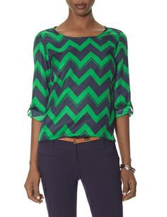 Chevron Stripe Blouse from THELIMITED.com #TheLimited