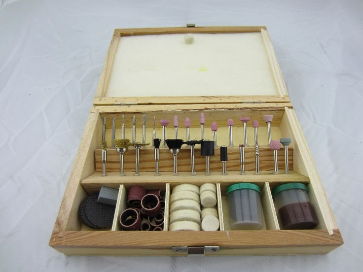free shipping Rotary grinding burnishing kit, jewelry polishing Accessories wth wooden case dental carving marking drilling tool