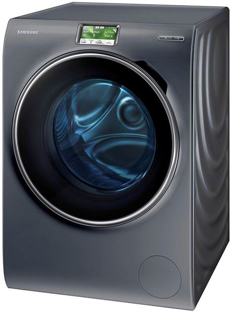 """The Samsung WW9000 combines an elegant minimalist design with an intuitive user interface and smart washing performance. There are no knobs, buttons and rigid lines. The new smoothly shaped Samsung washer has a streamlined front with a ripple design running along its sides. The Blue Crystal WW9000 also features an intuitive 5"""" colour Full Touch Screen and enhanced smart features for improved performance and functionality."""