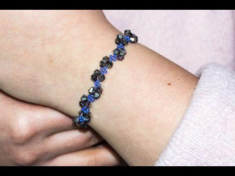 TUTORIAL - JAK ZROBIĆ DELIKATNĄ BRANSOLETKĘ Z KRYSZTAŁKÓW BICONE I KORALIKÓW TOHO.Beading tutorial  HOW DO Delicate bracelet with crystals and beads TOHO and Bicon.