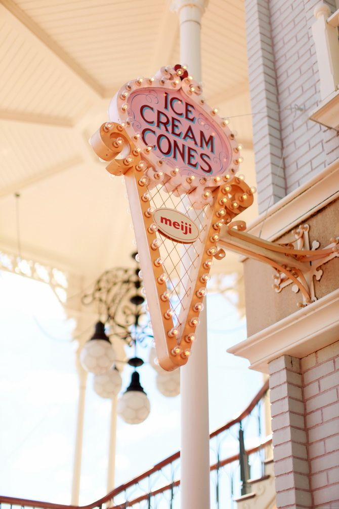 Ice Cream Cones sign in Tokyo Disneyland via The Cherry Blossom Girl