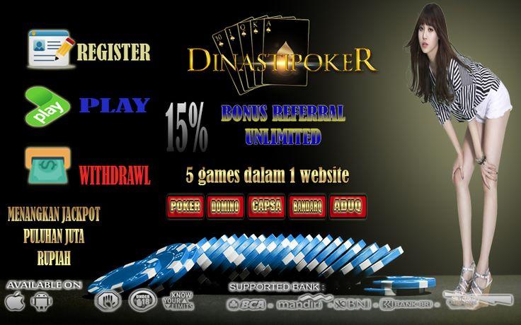 #AGENJUDI #POKER #DOMINOQQ #CAPSA #BANDARQ #ADUQ #JUDI #ONLINE #BISNISONLINE #CARIUANG #POKERMENANGTERUS Hai Bos Bos Ganteng.... Suka Main Poker Bos ? Mau main Domino Juga ? Di sini kami menyediakan % permainan online untuk bos bos semua  Ada 5 Games yang Dapat anda mainkan dengan hanya memiliki 1 ID saja  POKER,DOMINOQQ,CAPSA,BANDARQ & ADUQ Min Depo dan WD hanya : 20.000