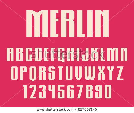 Geometric gothic font Retro design letters and numbers Vector abc