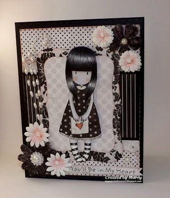 Loves Rubberstamps Challenge Blog - Challenge 78 - Black & White or Sepia Color Challenge - Design team member Marcy Dangcil using Gorjuss Girls