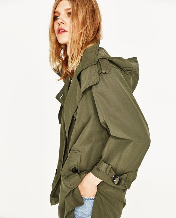 Image 7 of SHORT TRENCH COAT WITH HOOD from Zara
