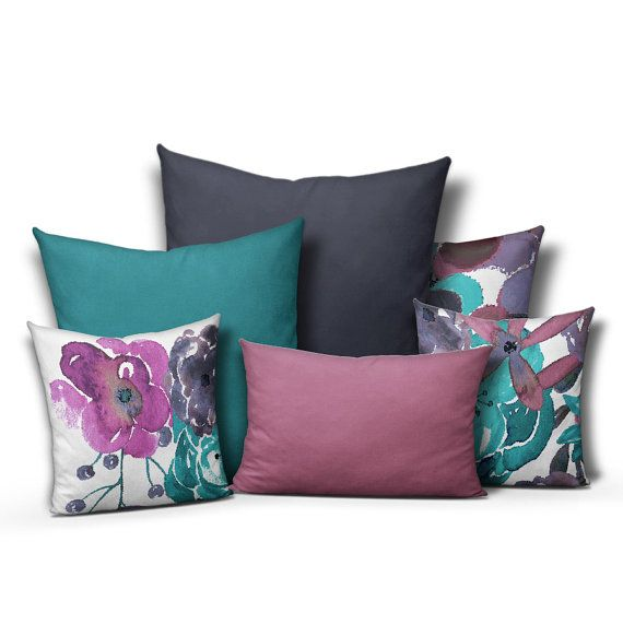 Best Throw Pillow Covers Part - 26: Throw Pillow Covers Purple Teal Mix And Match By HLBhomedesigns