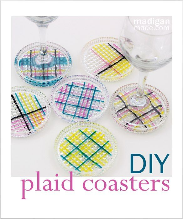 Such a simple way to make plaid painted glass coasters