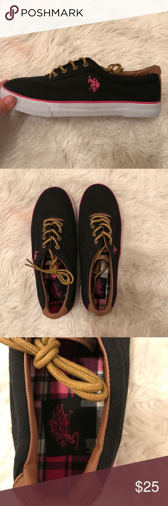 Polo Ralph Lauren Shoes NWOT Black shoes with pink detailing, and a white bottom These shoes were never worn, I bought them a size too big for me! Size 8.5 Polo by Ralph Lauren Shoes Sneakers