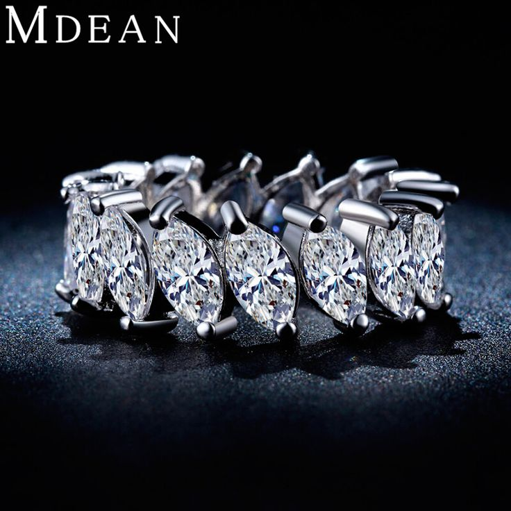 MDEAN White Gold Plated rings for women AAA Zircon Engagement women wedding ring Vintage ring fashion accessories bague MSR242 www.bernysjewels.com #bernysjewels #jewels #jewelry #nice #bags