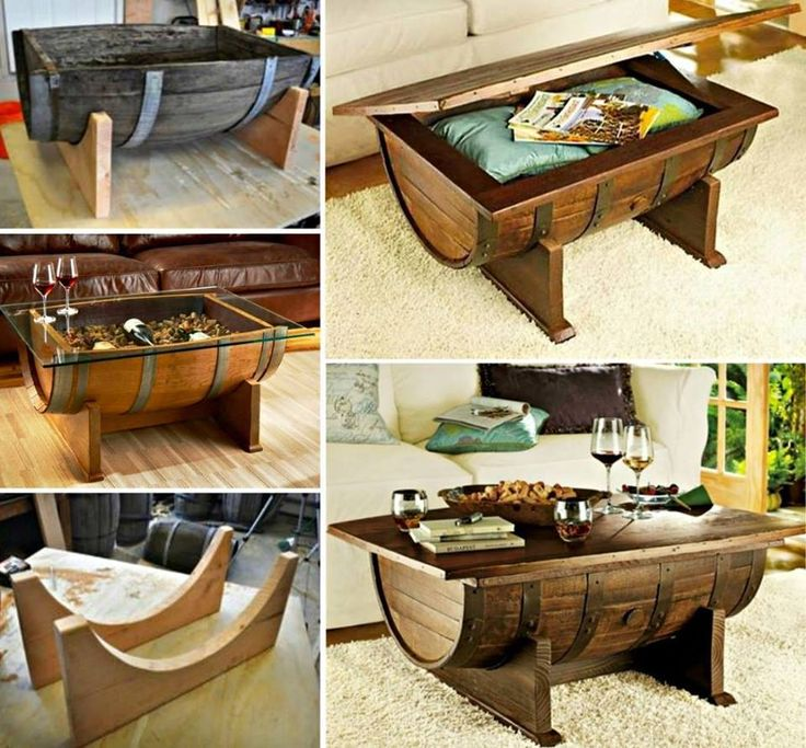 This is a creative idea of making coffee table by using whiskey barrel. It's not only a table but also a nice storage .    #diy #home #furniture