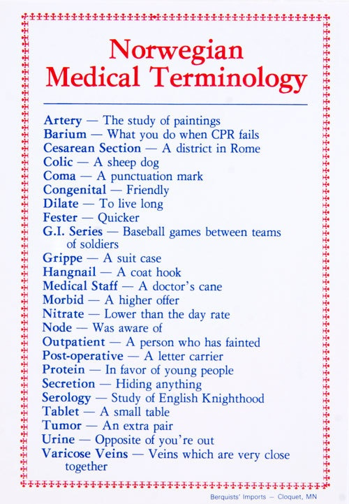 Norwegian Medical Terms
