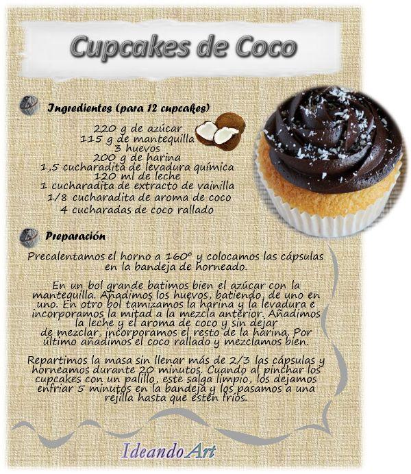 Riquísima receta de cupcakes de coco by IdeandoArt