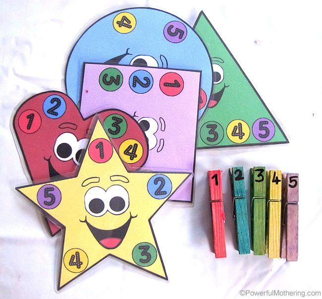 Free printable shapes, numbers and colors busy bag.