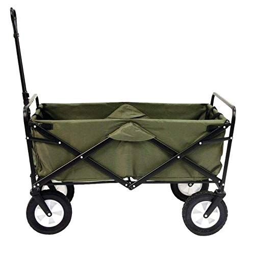 GREEN COLLAPSIBLE FOLDING STEEL FRAME OUTDOOR UTILITY WAGON